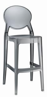 Дизайнерски бар стол с облегалка в прозрачно сиво